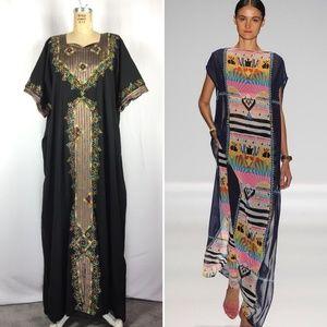 Vintage Rainbow Metallic Embroidered Kaftan Dress